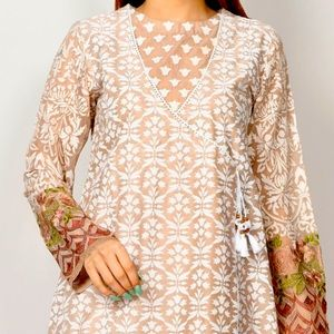 Designer Cotton tunic/dress w embroidered sleeves.